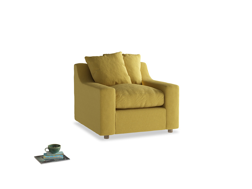 Cloud Armchair in Maize yellow Brushed Cotton