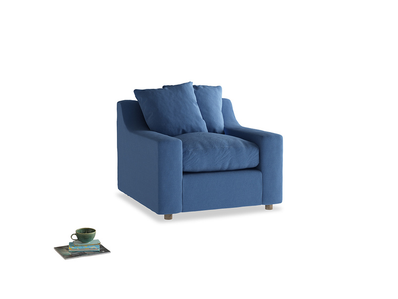 Cloud Armchair in English blue Brushed Cotton