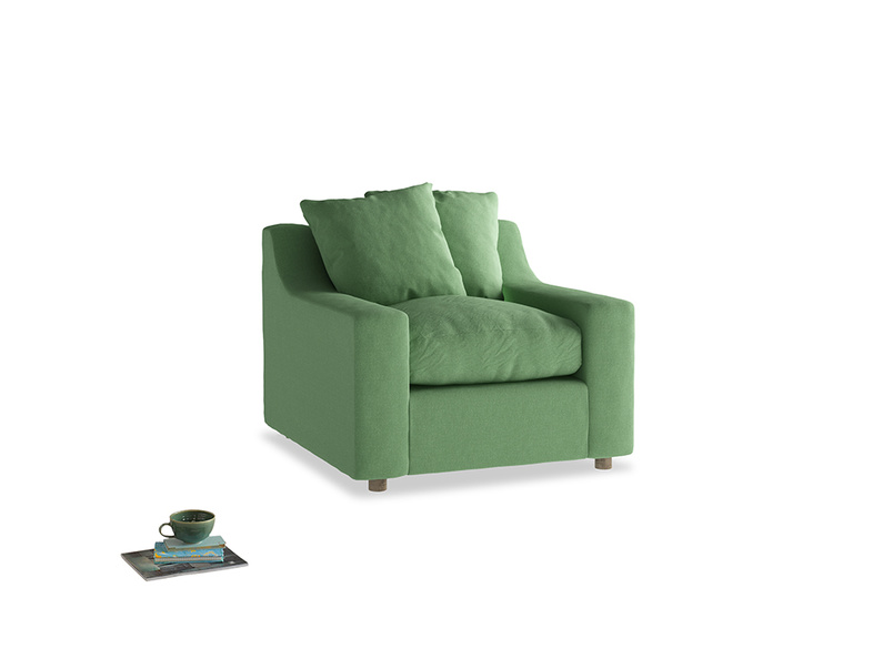 Cloud Armchair in Clean green Brushed Cotton