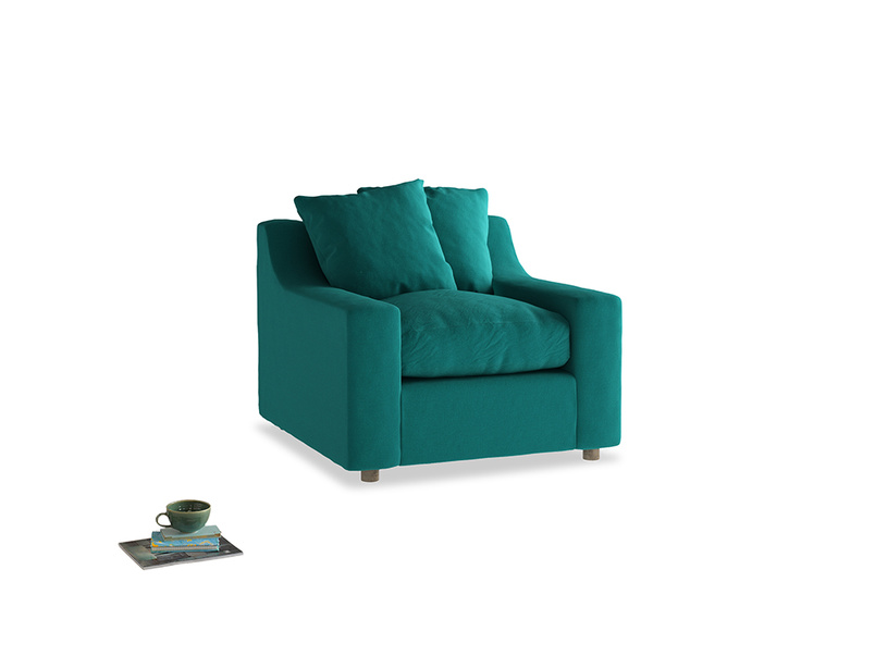 Cloud Armchair in Indian green Brushed Cotton
