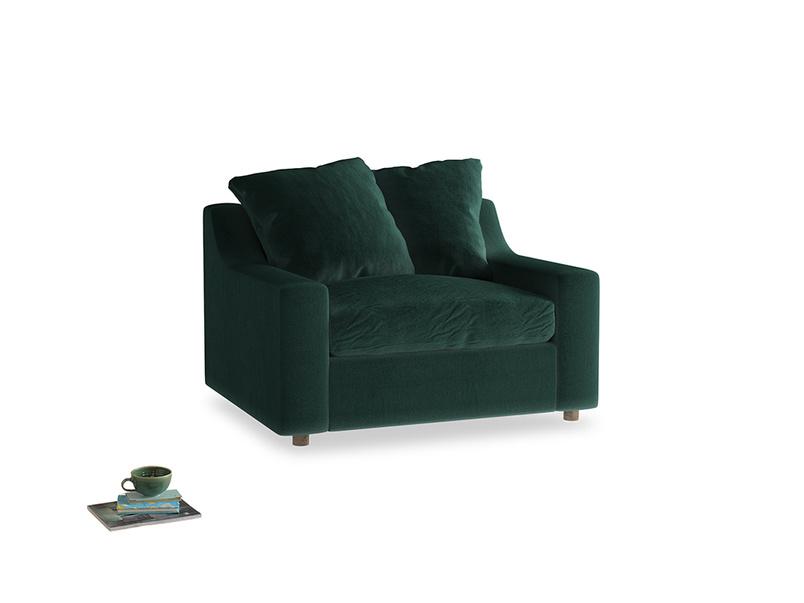 Cloud love seat sofa bed in Dark green Clever Velvet
