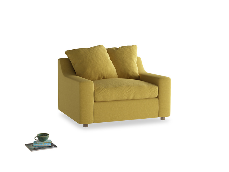 Cloud love seat sofa bed in Maize yellow Brushed Cotton