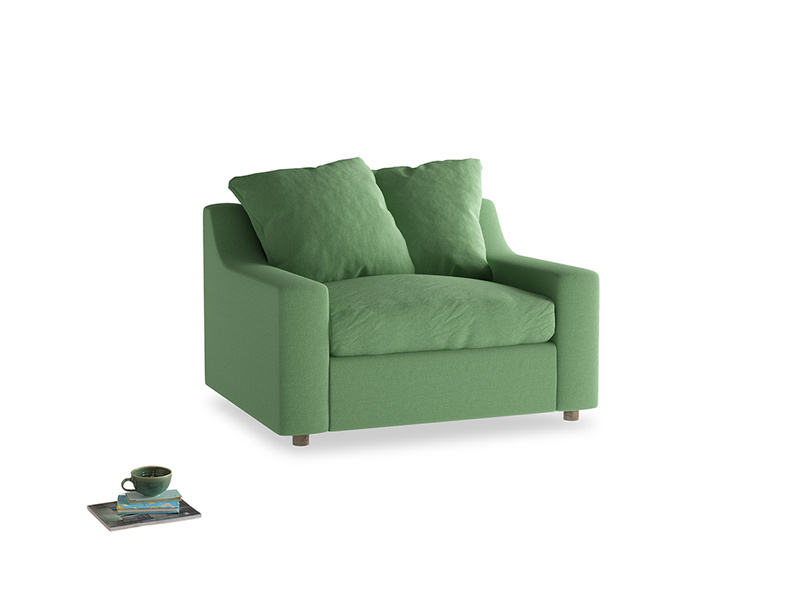 Cloud love seat sofa bed in Clean green Brushed Cotton