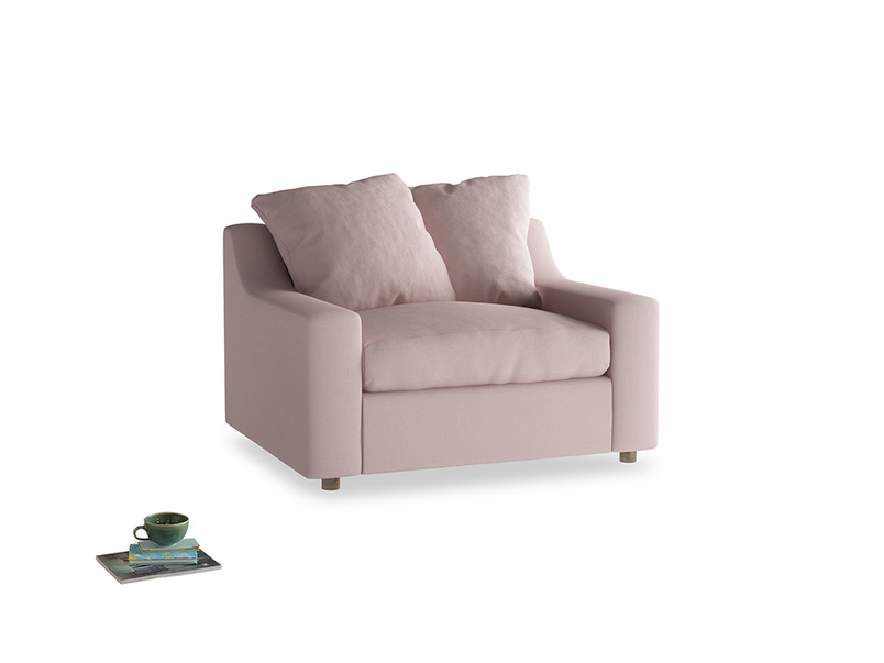 Cloud love seat sofa bed in Potter's pink Clever Linen