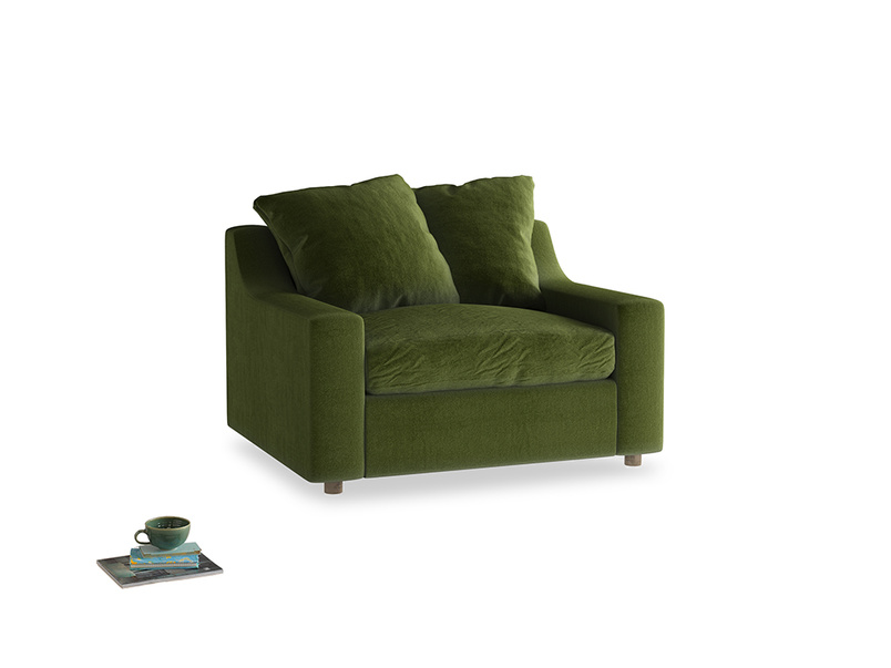 Cloud love seat sofa bed in Good green Clever Deep Velvet