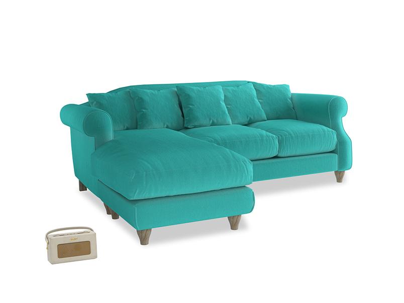 Large left hand Sloucher Chaise Sofa in Fiji Clever Velvet