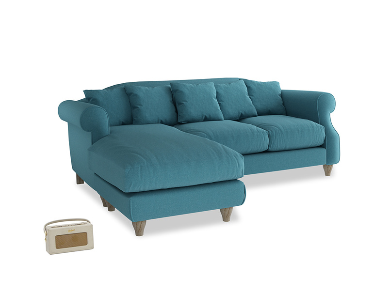 Large left hand Sloucher Chaise Sofa in Lido Brushed Cotton
