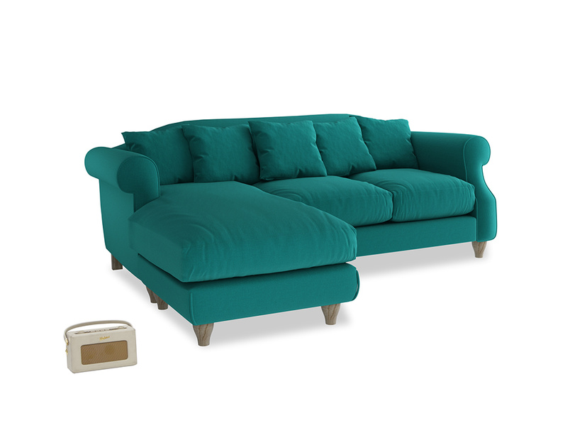 Large left hand Sloucher Chaise Sofa in Indian green Brushed Cotton