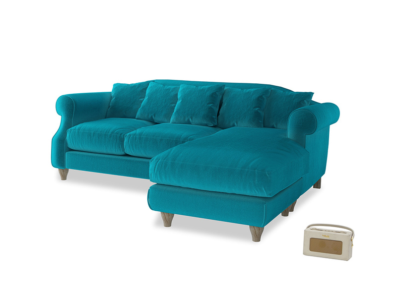 Large right hand Sloucher Chaise Sofa in Pacific Clever Velvet