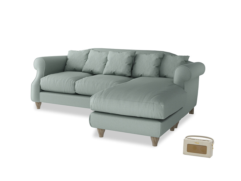 Large right hand Sloucher Chaise Sofa in Sea fog Clever Woolly Fabric