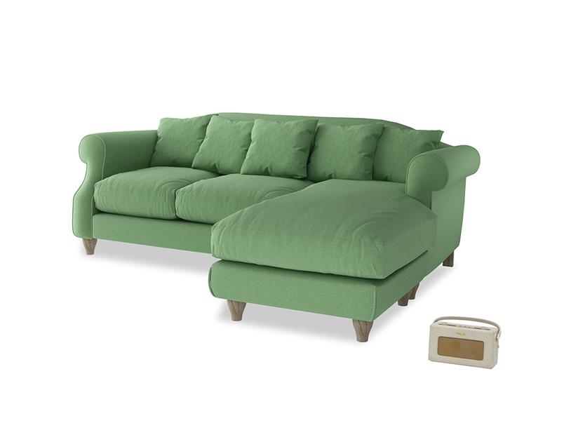 Large right hand Sloucher Chaise Sofa in Clean green Brushed Cotton