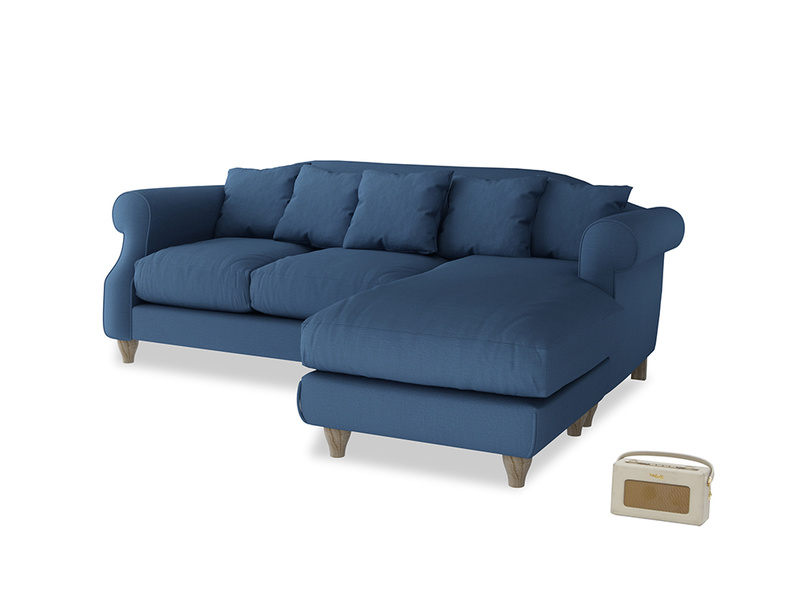 Large right hand Sloucher Chaise Sofa in True blue Clever Linen