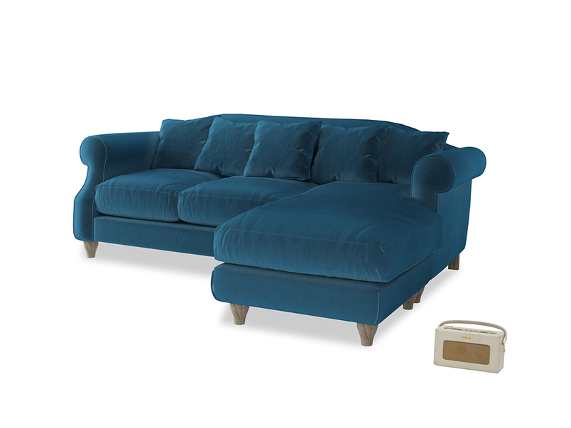 Large right hand Sloucher Chaise Sofa in Twilight blue Clever Deep Velvet