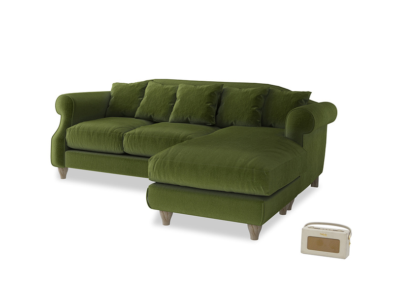 Large right hand Sloucher Chaise Sofa in Good green Clever Deep Velvet