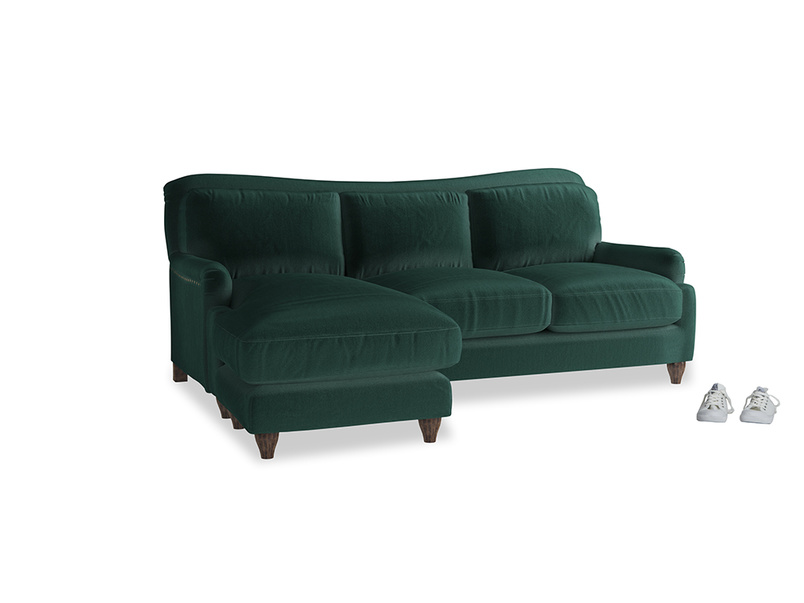 Large left hand Pavlova Chaise Sofa in Dark green Clever Velvet