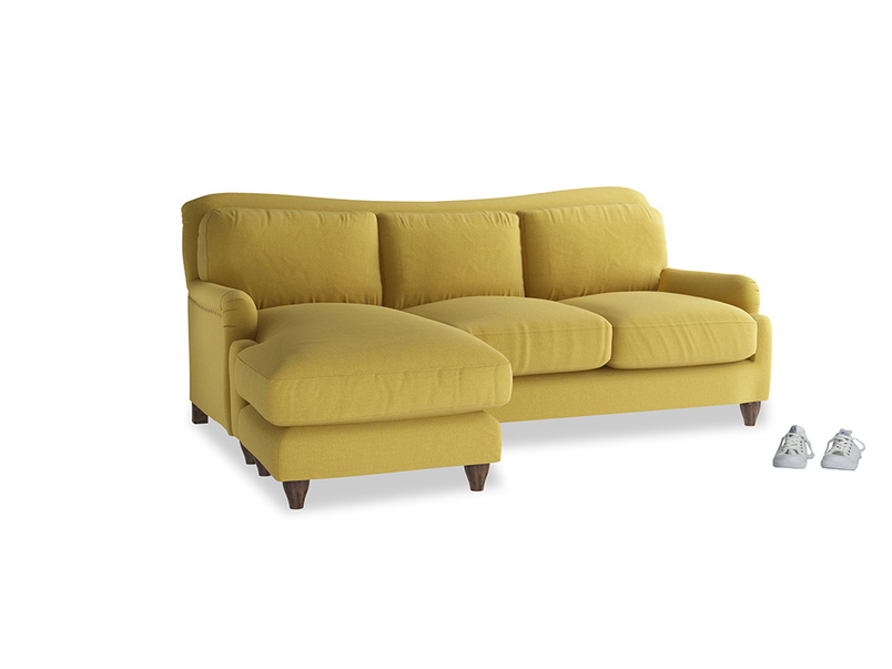 Large left hand Pavlova Chaise Sofa in Maize yellow Brushed Cotton