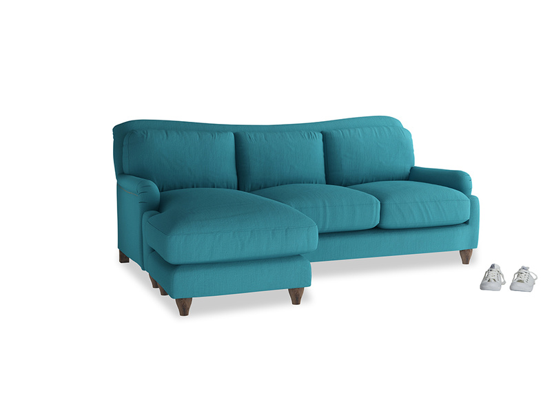 Large left hand Pavlova Chaise Sofa in Dragonfly Clever Linen