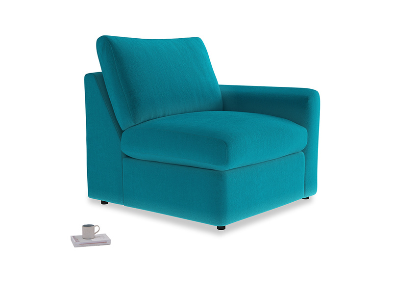 Chatnap Storage Single Seat in Pacific Clever Velvet with a right arm