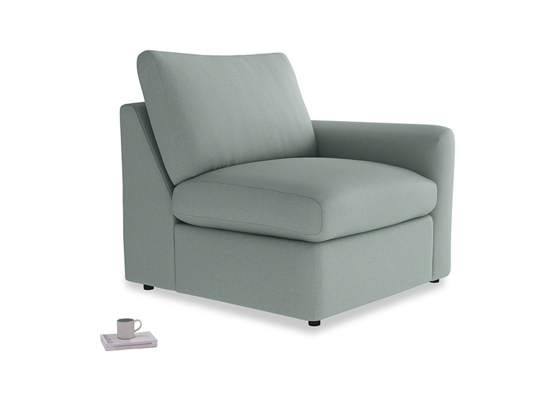 Chatnap Storage Single Seat in Sea fog Clever Woolly Fabric with a right arm