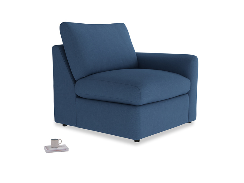 Chatnap Storage Single Seat in True blue Clever Linen with a right arm