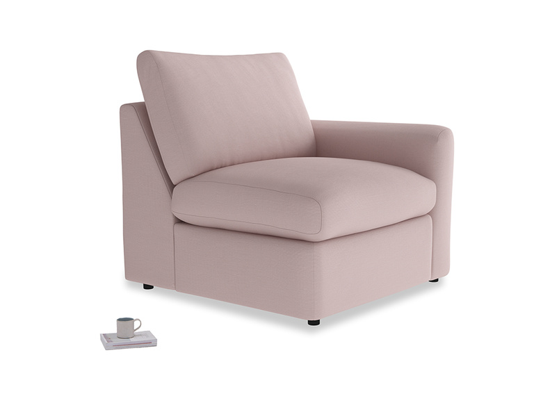 Chatnap Storage Single Seat in Potter's pink Clever Linen with a right arm