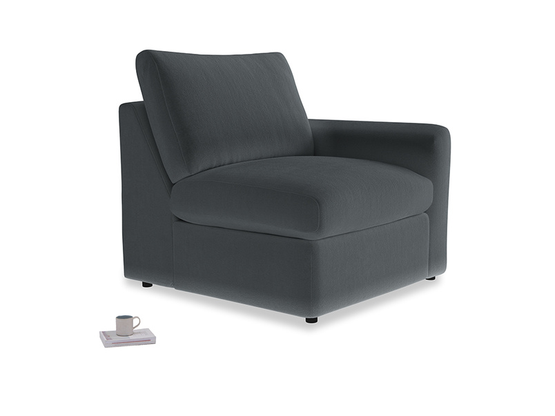 Chatnap Storage Single Seat in Dark grey Clever Deep Velvet with a right arm