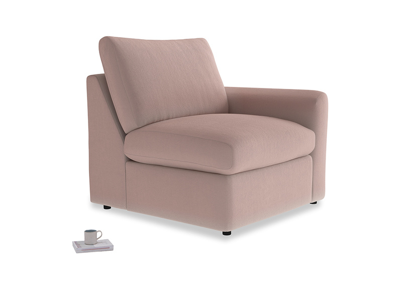 Chatnap Storage Single Seat in Rose quartz Clever Deep Velvet with a right arm