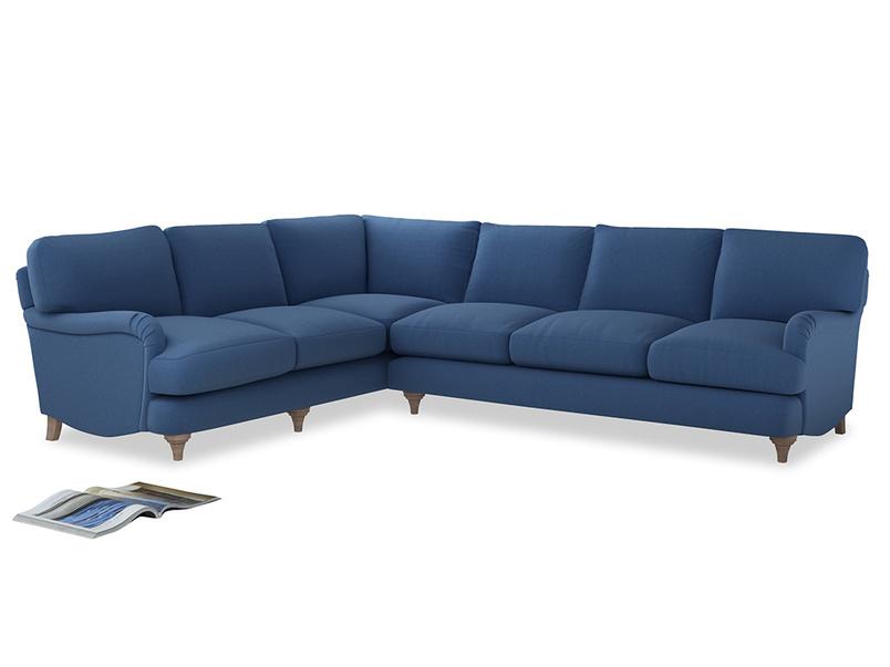 Xl Left Hand Jonesy Corner Sofa in English blue Brushed Cotton