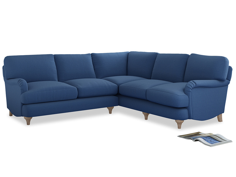Even Sided Jonesy Corner Sofa in English blue Brushed Cotton