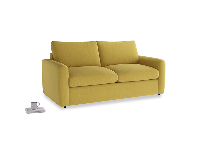 Chatnap Sofa Bed in Maize yellow Brushed Cotton with both arms