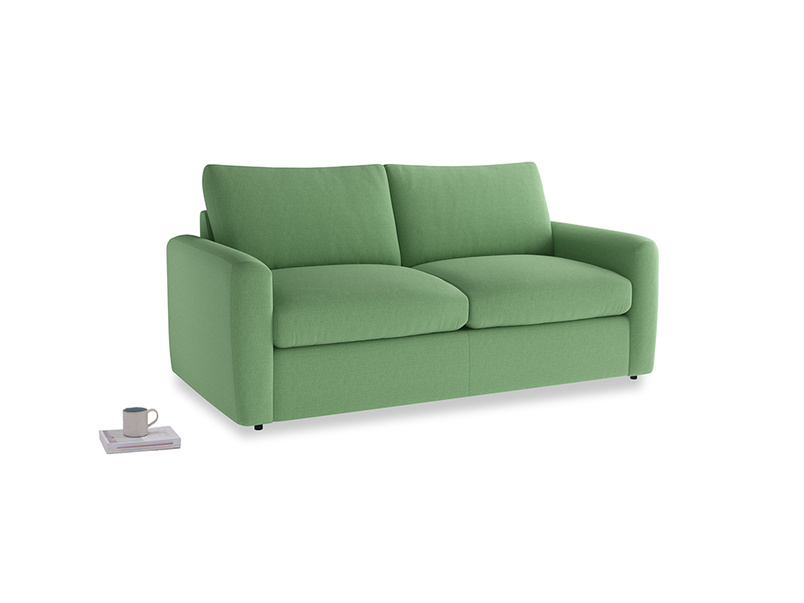 Chatnap Sofa Bed in Clean green Brushed Cotton with both arms
