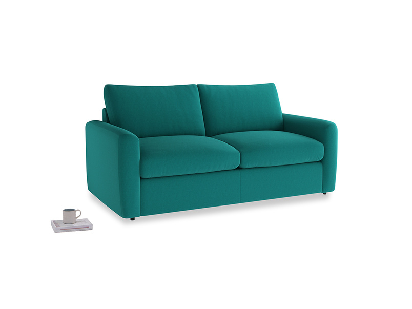 Chatnap Sofa Bed in Indian green Brushed Cotton with both arms