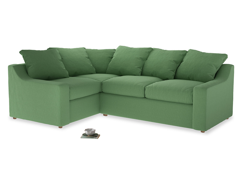 Large Left Hand Cloud Corner Sofa in Clean green Brushed Cotton