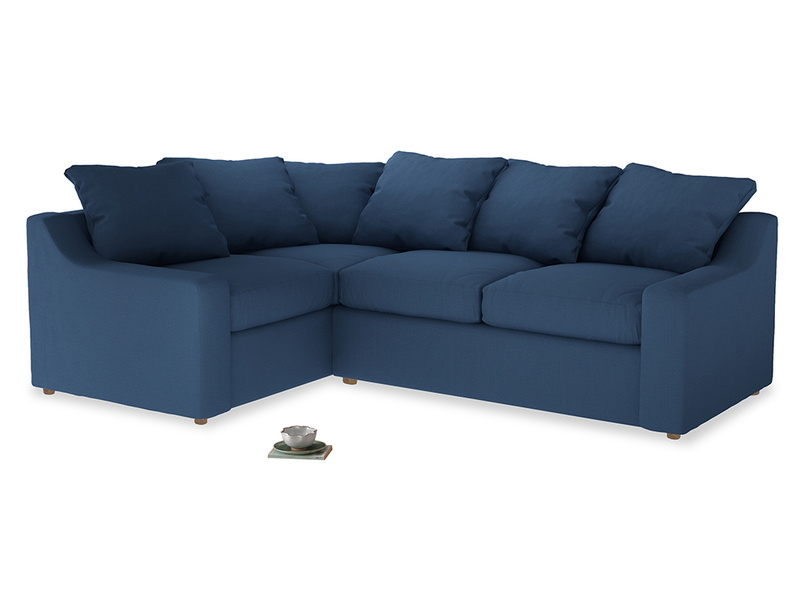 Large Left Hand Cloud Corner Sofa in True blue Clever Linen