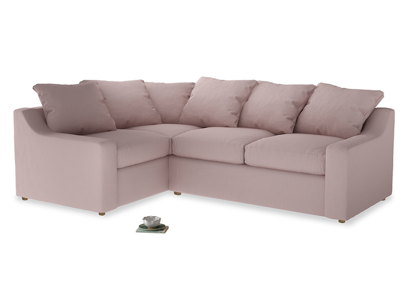 Large Left Hand Cloud Corner Sofa in Potter's pink Clever Linen