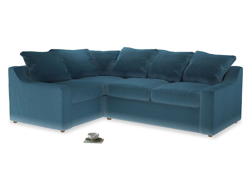 Large Left Hand Cloud Corner Sofa in Old blue Clever Deep Velvet