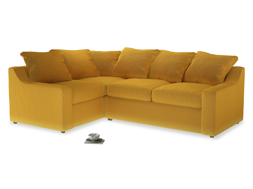 Large Left Hand Cloud Corner Sofa in Pollen Clever Deep Velvet