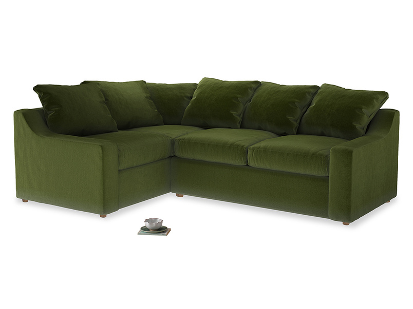 Large Left Hand Cloud Corner Sofa in Good green Clever Deep Velvet