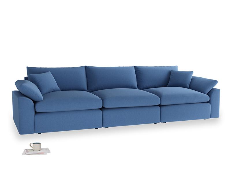Large Cuddlemuffin Modular sofa in English blue Brushed Cotton