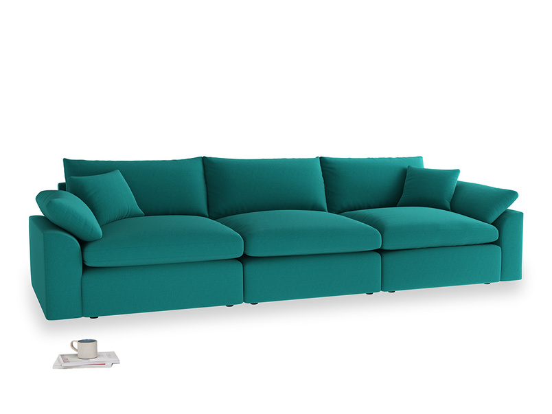 Large Cuddlemuffin Modular sofa in Indian green Brushed Cotton