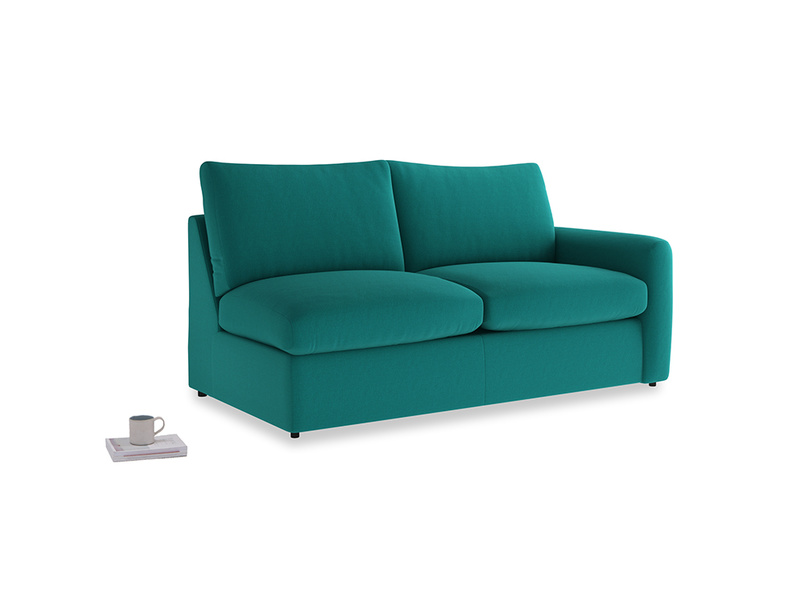 Chatnap Sofa Bed in Indian green Brushed Cotton with a right arm