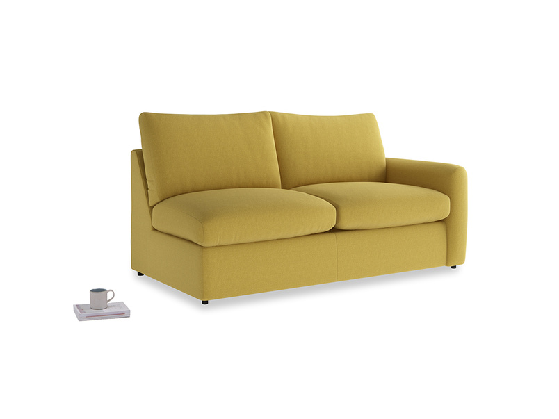 Chatnap Sofa Bed in Maize yellow Brushed Cotton with a right arm