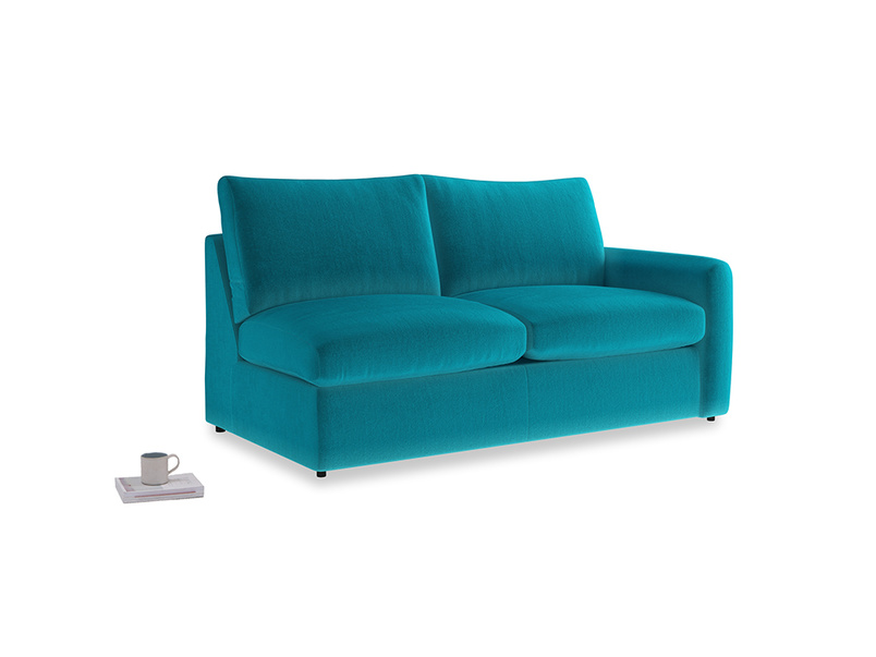 Chatnap Sofa Bed in Pacific Clever Velvet with a right arm