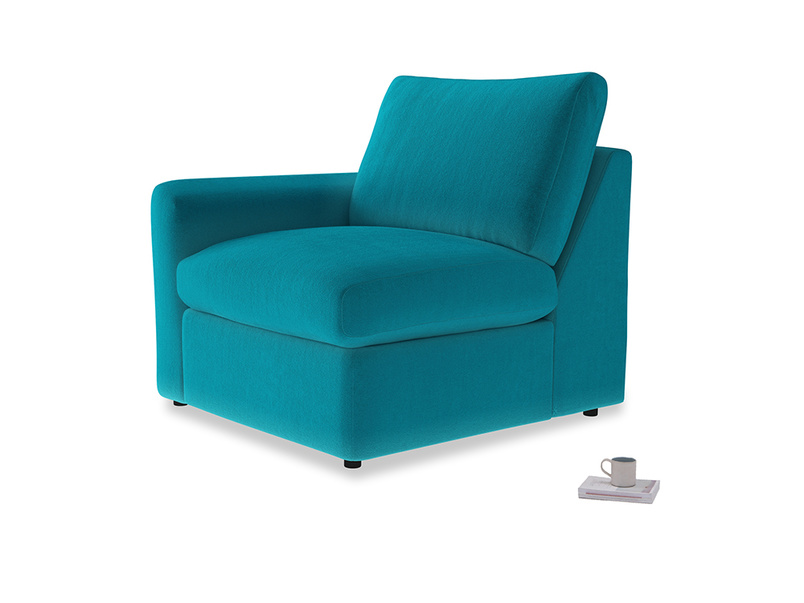 Chatnap Storage Single Seat in Pacific Clever Velvet with a left arm
