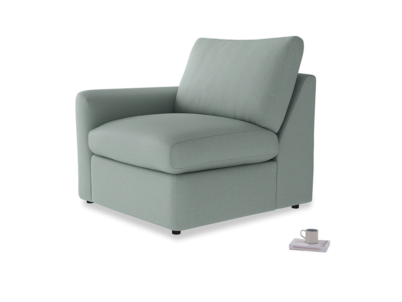 Chatnap Storage Single Seat in Sea fog Clever Woolly Fabric with a left arm