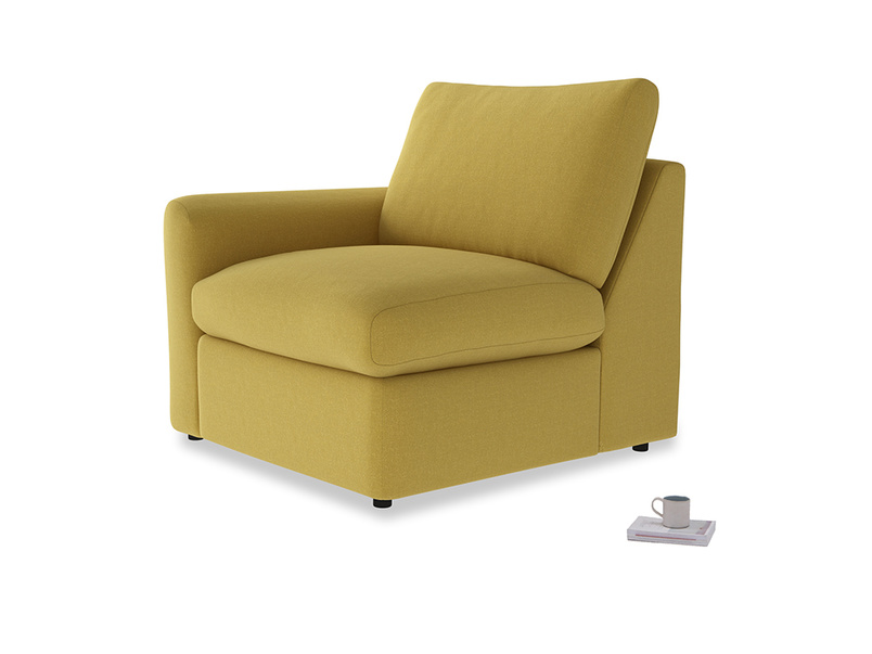 Chatnap Storage Single Seat in Maize yellow Brushed Cotton with a left arm
