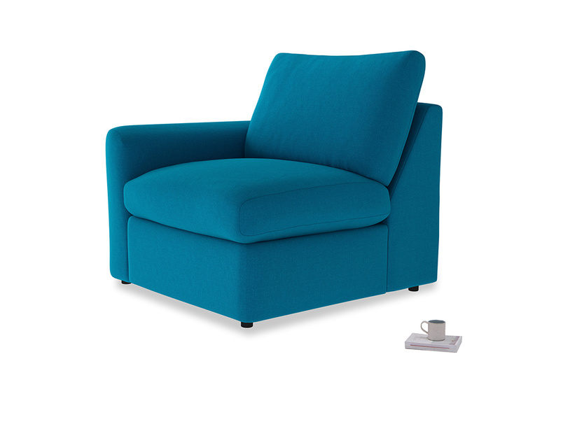 Chatnap Storage Single Seat in Bermuda Brushed Cotton with a left arm