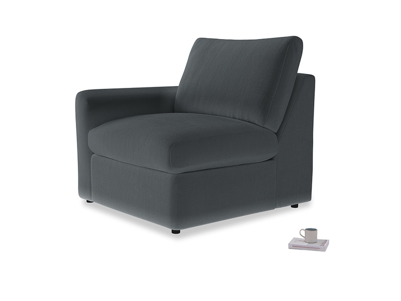 Chatnap Storage Single Seat in Dark grey Clever Deep Velvet with a left arm