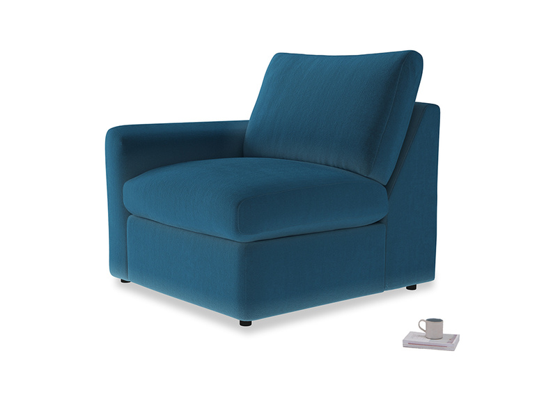 Chatnap Storage Single Seat in Twilight blue Clever Deep Velvet with a left arm