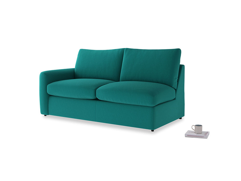 Chatnap Sofa Bed in Indian green Brushed Cotton with a left arm